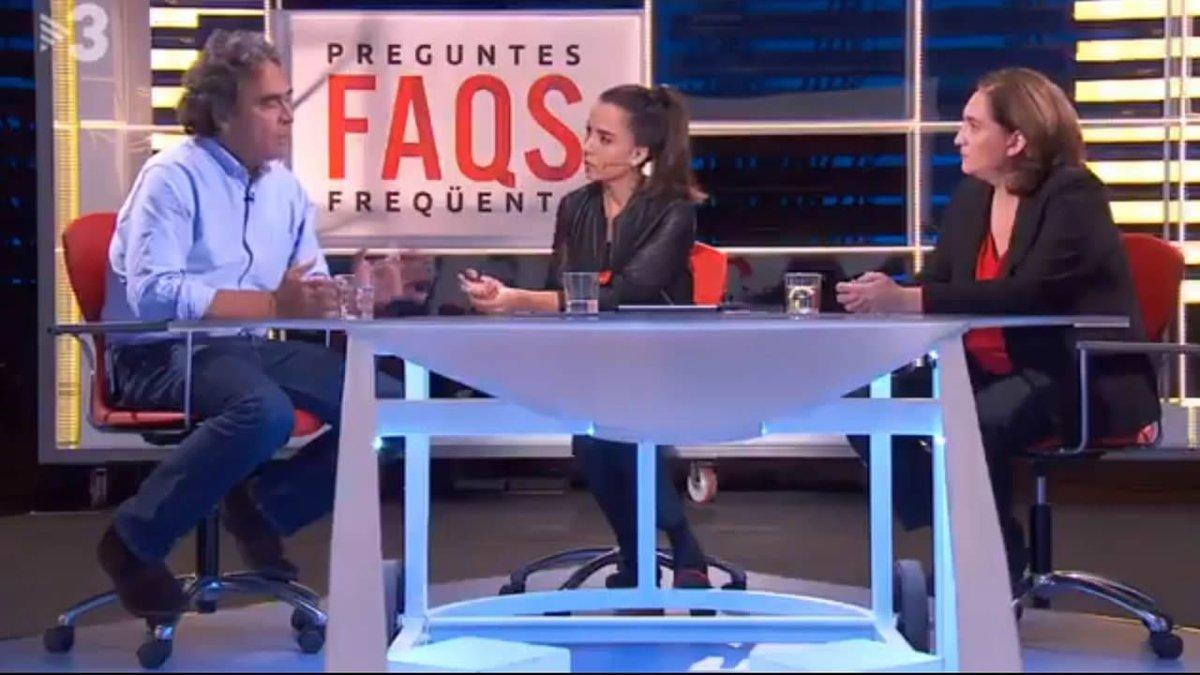 El alcalde de Medellín, Laura Rosely Ada Colau, en el programa de TV-3 'Preguntes freqüents'.