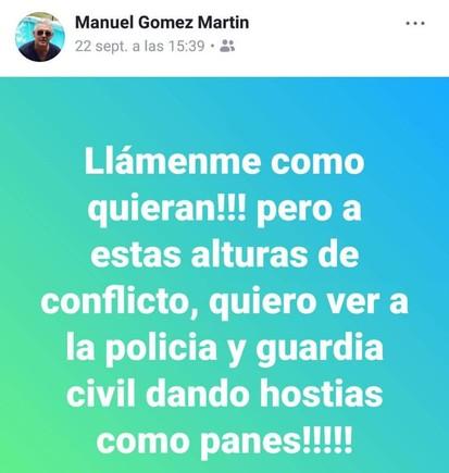 Captura de pantalla del post en Facebook del portavoz del PP en Gibraleón (Huelva) llamando a la Policía y la Guardia Civil a dar hostias como panes.