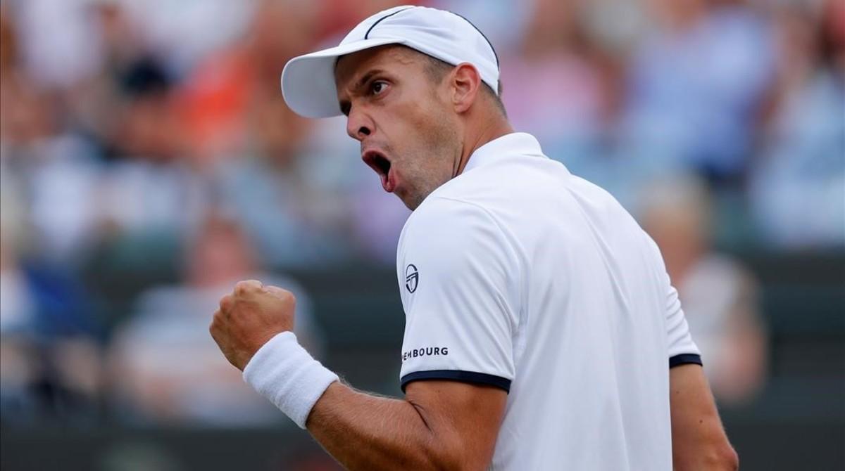 Gilles Muller, el protagonista de la gran sorpresa en Wimbledon.