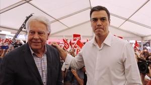 González y Sánchez, durante un mitin en Madrid el pasado 24 de junio.