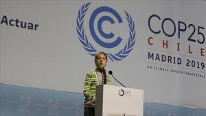 Greta Thunberg, durante su intervención en el plenario de la Cumbre del Clima, este miércoles.