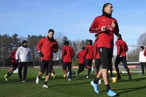 Ibrahomovic, entrenando con el Milan.