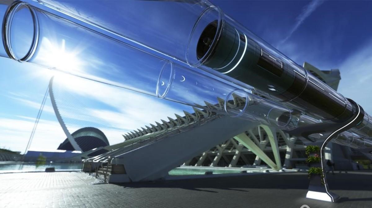 Imagen virtual del Hyperloop diseñado por la Universidad Politécnica de Valencia.