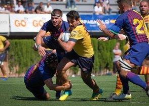 Imagen del derbi entre la UE Santboiana y el FCB de rugby del pasado sábado