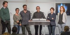Joan Coscubiela y otros diputados de Catalunya Sí que es Pot, en el Parlament.