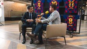 Josep Maria Bartomeu, durante la entrevista de 'El Suplement' de Catalunya Ràdio.