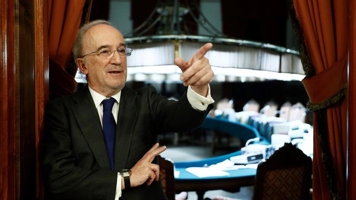 El jurista Santiago Munoz Machado, tras ser elegido nuevo director de la RAE, el 20 de diciembre del 2018.