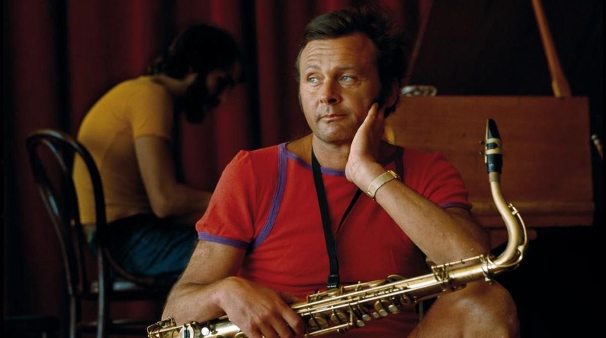 Stan Getz, en un ensayo en el Festival de Antibes, en 1970.