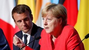 Emmanuel Macron yAngela Merkel el pasado mes de agosto en París.