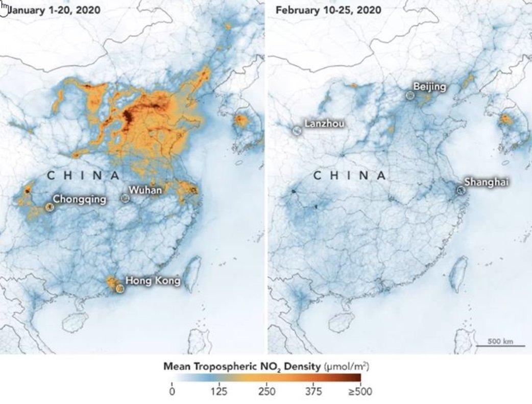 El mapa, compartido por la NASA, en el que se refleja la reducción de contaminación del aire en china.