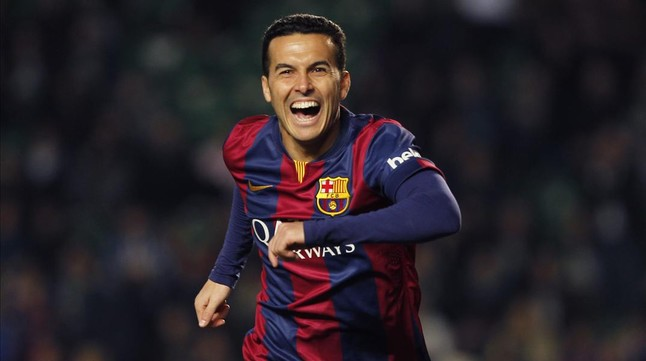 Pedro celebra un gol con el Barça.