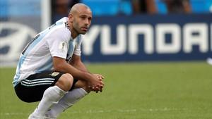 Mascherano, abatido en Kazán tras quedar eliminado del Mundial.