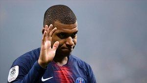 Mbappé, en el partido del Paris SG contra el Reims.