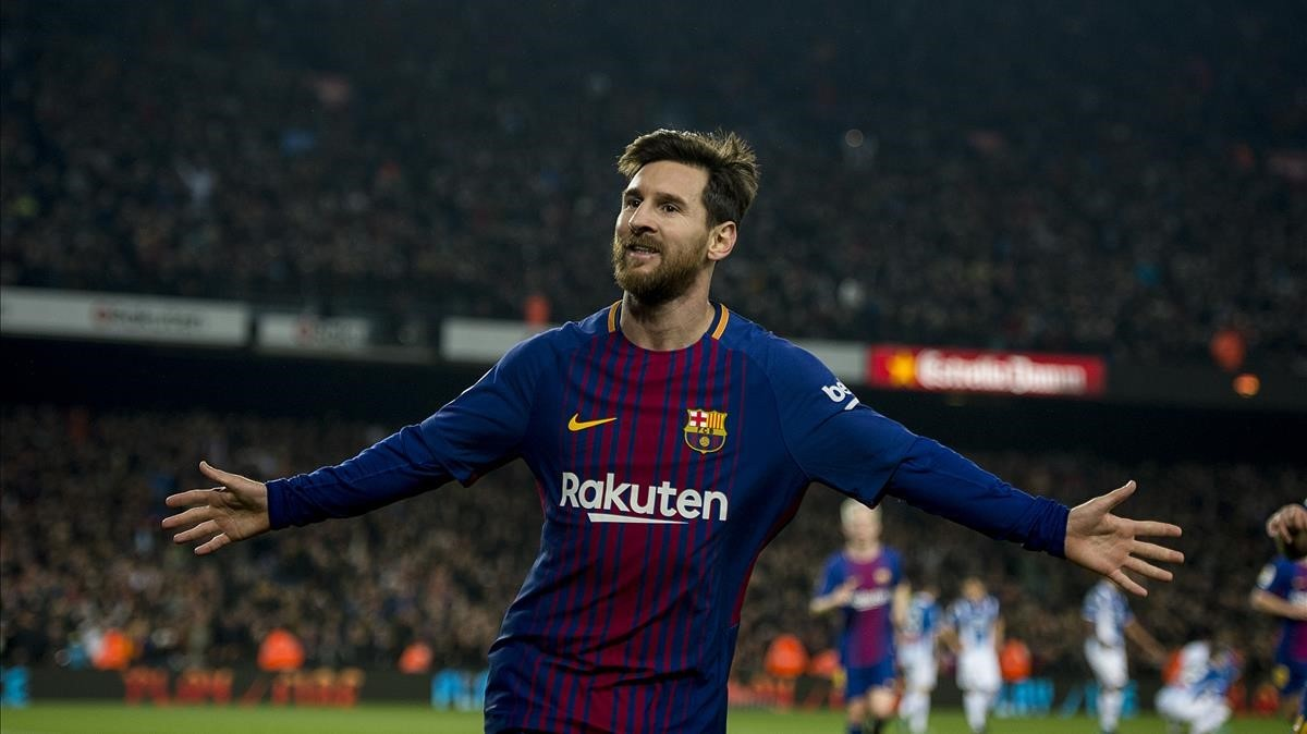 Messi celebra el segundo gol del Barça ante el Espanyol.