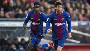 Messi y Dembélé, en el partido del Barça contra el Levante en el Camp Nou.