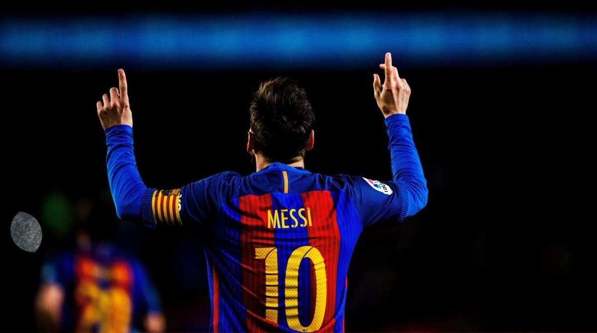 Messi festeja su primer gol al Celta en el Camp Nou.