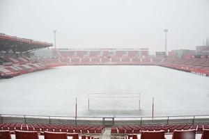 Montilivi, estadio del Girona FC, nevado