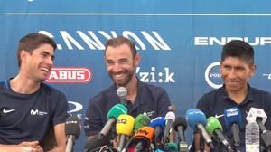 De izquierda a derecha, Landa, Valverde y Quintana, en Cholet, este viernes.