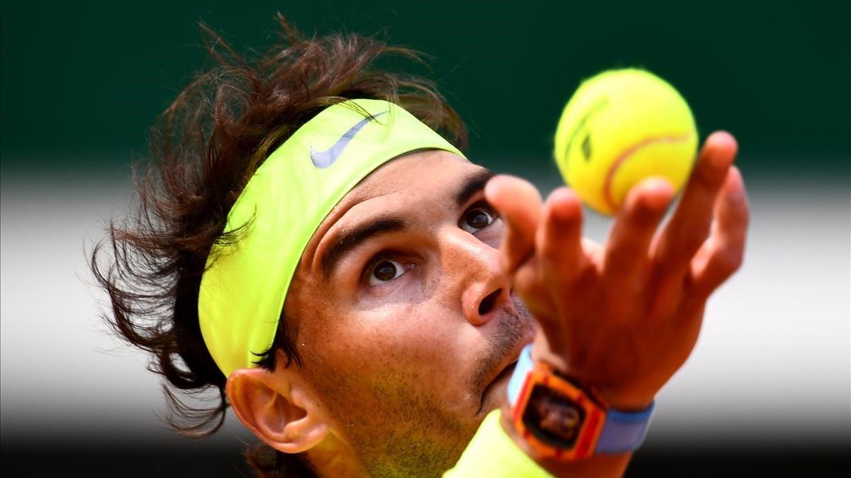 Nadal durante su partido contra Nishikori en los cuartos de final de Roland Garros.