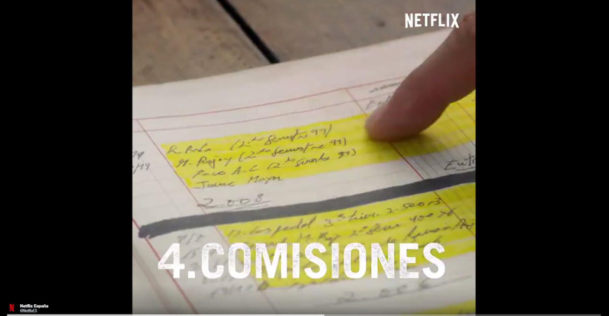 Detalle del video promocional de la serie de Netflix 'Narcos' en la que aparecen nombres de líderes del PP.