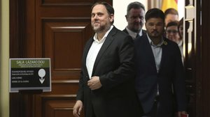 Oriol Junqueras, en el Congreso, el pasado 20 de mayo, cuando fue a recoger su acta de diputado.