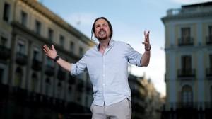 Pablo Iglesias en la concentración a favor de la moción en la Puerta del Sol (Madrid).