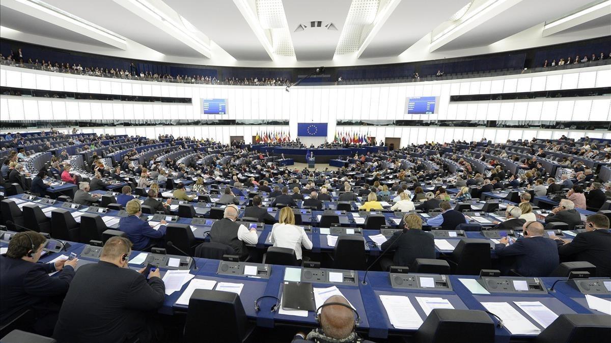 El Parlamento Europeo en el pleno de este miércoles.