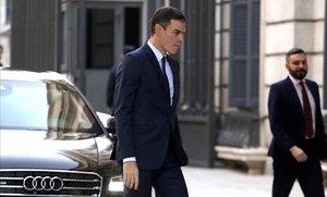 Pedro Sánchez llega al Congreso para la sesión de control al Gobierno.