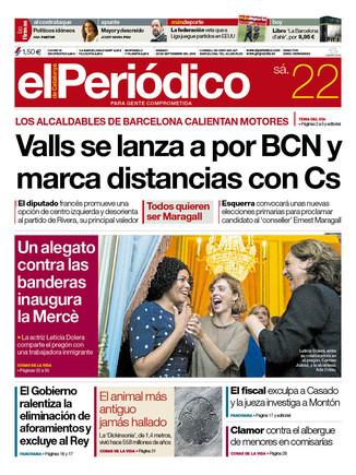 La portada de EL PERIÓDICO del 22 de septiembre del 2018
