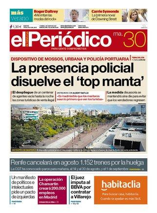 La portada de EL PERIÓDICO del 30 de julio del 2019