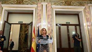 La presidenta del Congreso, Meritxell Batet, esta tarde en el Congreso de los Diputados.