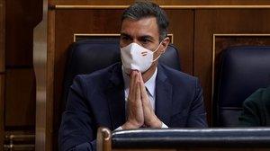 El presidente del Gobierno, Pedro Sánchez, en una imagen tomada durante el debate de moción de censura plantado por Vox