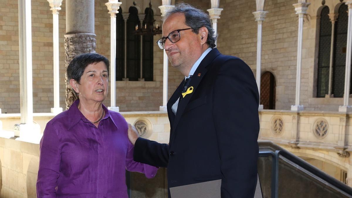 El presidente de la Generalitat Quim Torra y la delegada del Gobierno en Catalunya Teresa Cunillera, el pasado julio.