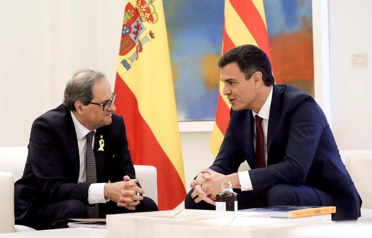 Quim Torra y Pedro Sánchez, durante la reunión que mantuvieron en la Moncloa el pasado mes de julio.