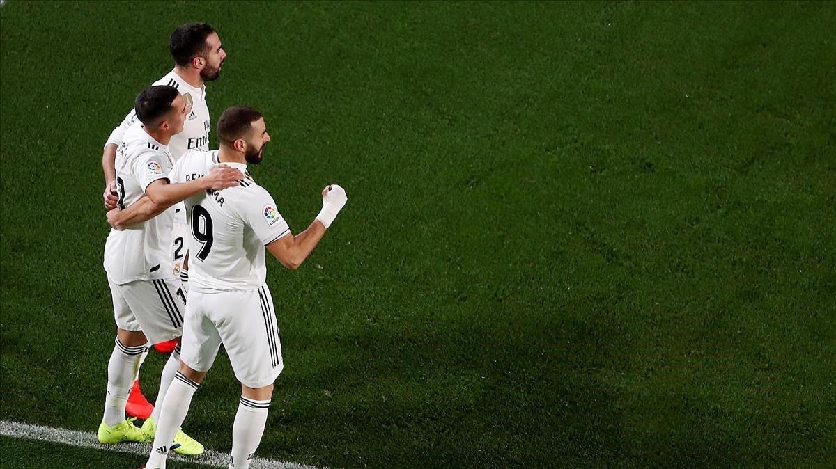 El festejo del gol de Lucas Vázquez en El Clásico.