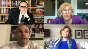 Risto Mejide charlando con Manuel Carmena, Andrés Iniesta y María Teresa Campos en 'Conversaciones en fase zero'.