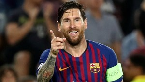 Messi celebra un gol con el Barça.