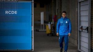 Rubi, el entrenador del Espanyol, en la ciudad deportiva blanquiazul Dani Jarque.