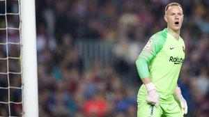 Ter Stegen, durante el partido de liga entre el FC Barcelona y el Sevilla.