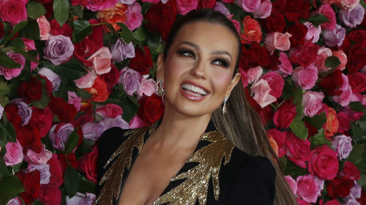 Thalía en la alfombra Roja de los Premios Tony 2018, en Nueva York.