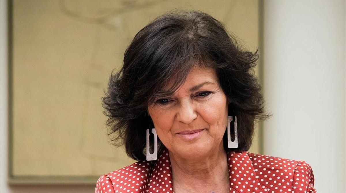 La vicepresidenta, Carmen Calvo, este martes en el Congreso.