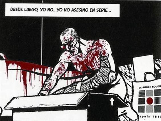 Viñeta donde el protagonista de 'Yo, asesino' empaqueta a su víctima descuartizada. Al lado, retratos de Altarriba y Keko (abajo), por el propio Keko.