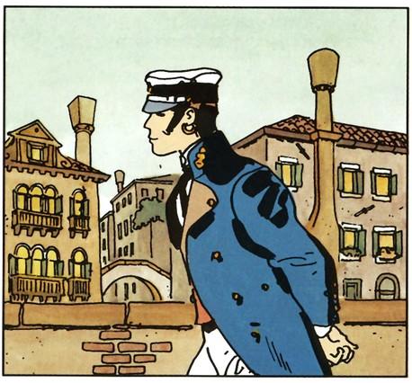 Viñeta protagonizada por Corto Maltés, el célebre personaje creado por Hugo Pratt.