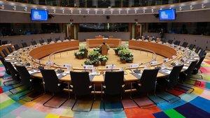 Vista de la sala de reuniones del Consejo Europeo en Bruselas.