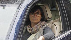 Marta Pujol Ferrusola, a su salida de la casa familiar en Queralbs, en abril del 2017.