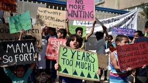 Protesta de refugiados ante el servicio de asilo de la capital de Atenas, el pasado 19 de septiembre.