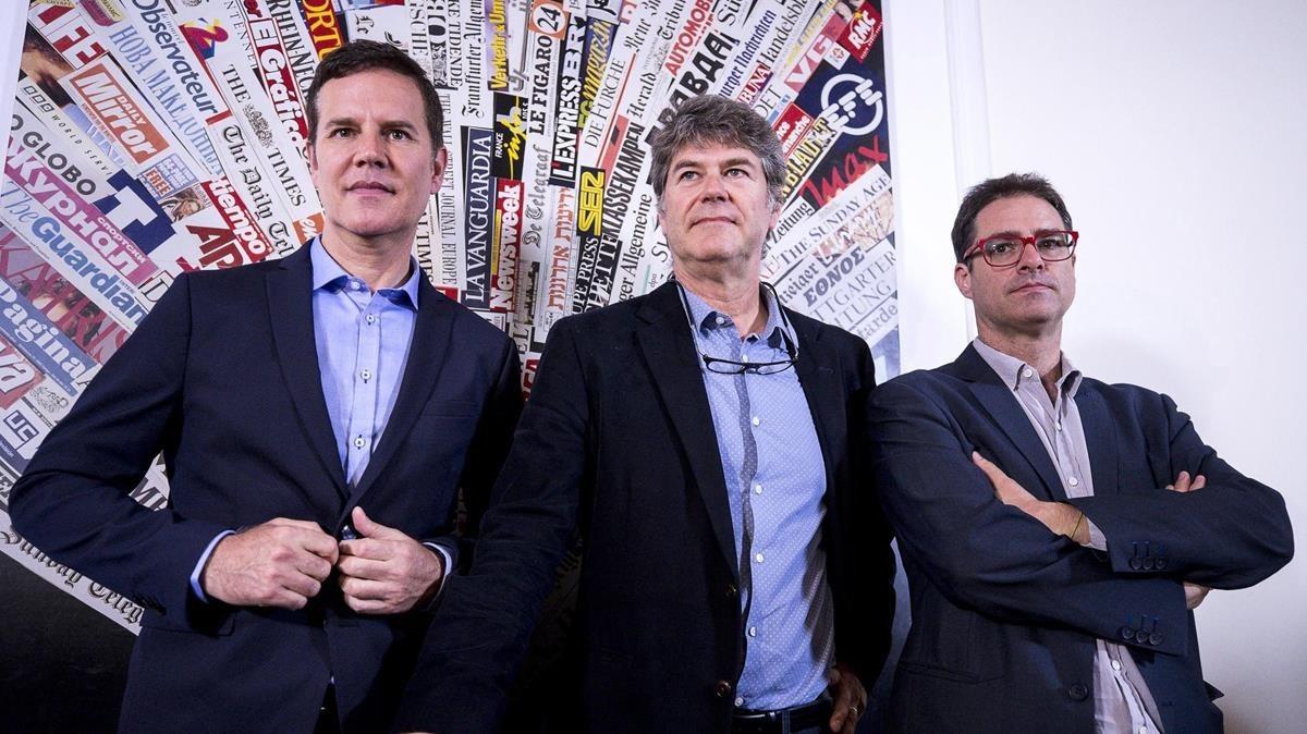 James Hamilton, Juan Carlos Cruz y José Andrés Murilla, víctimas de pederastia, en Roma.