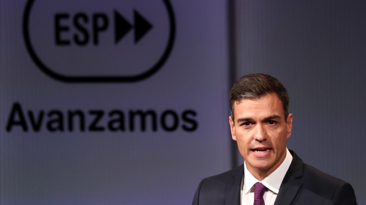 Pedro Sánchez durante una conferencia de prensa.