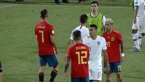 Un momento del Portugal-España sub 19 que acabó en 1-1.