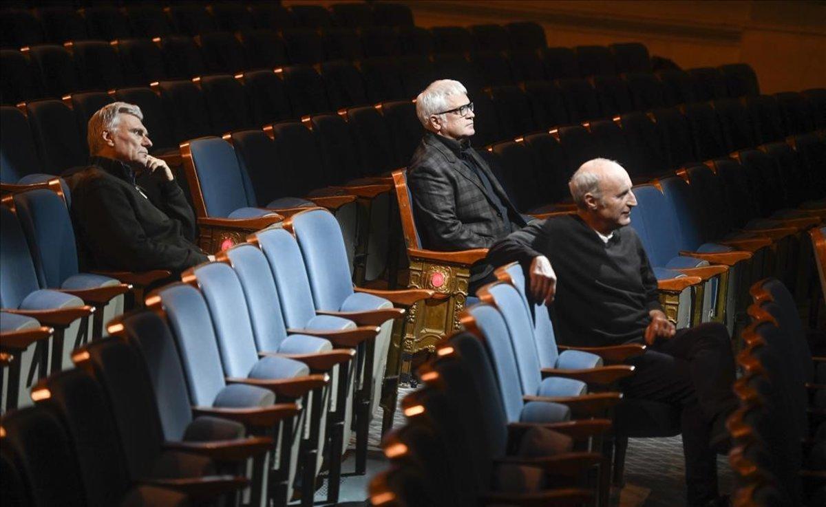 Paco Mir, Carles Sans y Joan Gràcia, en el Teatre Coliseum.